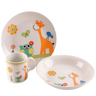 Porcelánová dětská jídelní sada ŽIRAFA 3 ks