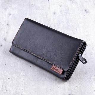 Dámská kožená peněženka černá s hnědým šitím