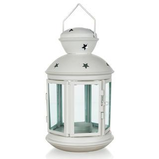 Plechová kulatá lucerna na čajovou svíčku bílá 20,5 cm