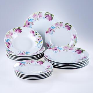 Banquet Porcelánová sada talířů PINK FLOWERS 18 ks