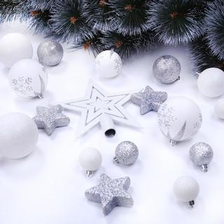 Sada vánočních ozdob LUX bílo-stříbrná 76 ks