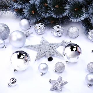 Sada vánočních ozdob STAR stříbrná 100 ks