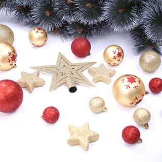 Sada vánočních ozdob SUSI zlato-červená 76 ks