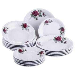 Porcelánová sada talířů s růžemi IVONA 18 ks
