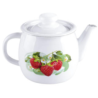Smaltovaná čajová konvice s dekorem ovoce 1 l