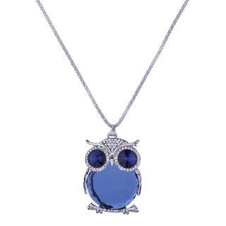 Náhrdelník s přívěskem ve tvaru sovy modrý