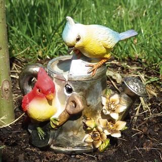 Zahradní dekorace na zahradu se zvukem - Ptáčci na konvi