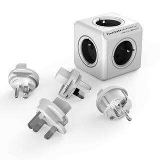 Rozbočovač PowerCube Rewirable šedý + cestovní adaptéry