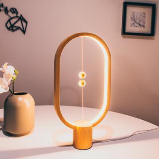 Dřevěná stolní lampa Heng Balance Lamp Ellipse USB přírodní