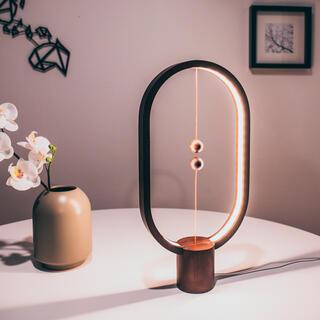 Dřevěná stolní lampa Heng Balance Lamp Ellipse USB tmavá