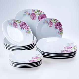 Porcelánová sada talířů square DOLORES 18 ks
