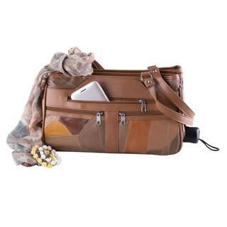 Dámská kabelka s kapsou na deštník hnědý patchwork
