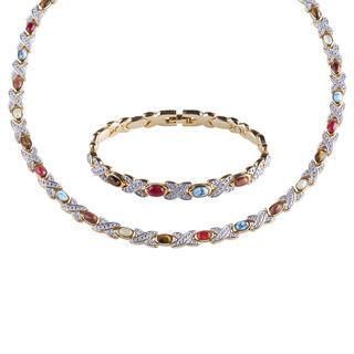 Souprava magnetického náhrdelníku a náramku s polodrahokamy