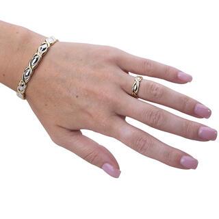 Souprava zdobeného magnetického náramku s prstýnkem