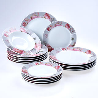 Porcelánová sada talířů ROSETTA 18 ks
