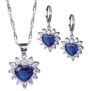 Souprava náhrdelníku a náušnic SRDCE modré