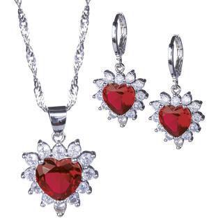 Souprava náhrdelníku a náušnic SRDCE červené