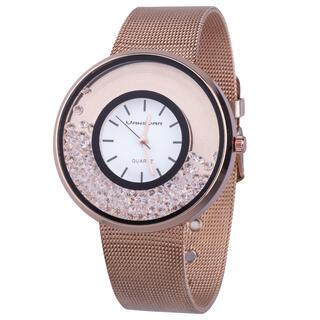 Dámské růžové hodinky s kamínky