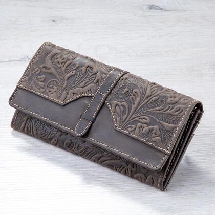 Kožená dámská peněženka s reliéfem hnědá