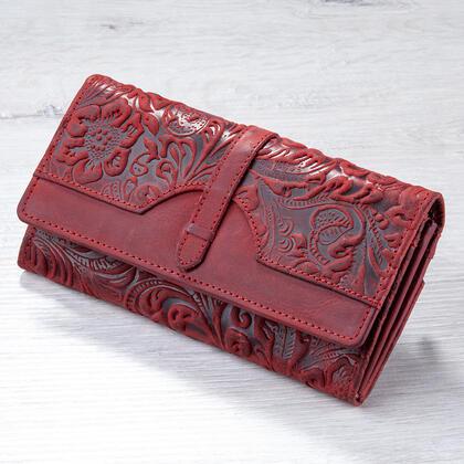 Kožená dámská peněženka s reliéfem červená
