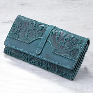 Kožená dámská peněženka s reliéfem petrolejová