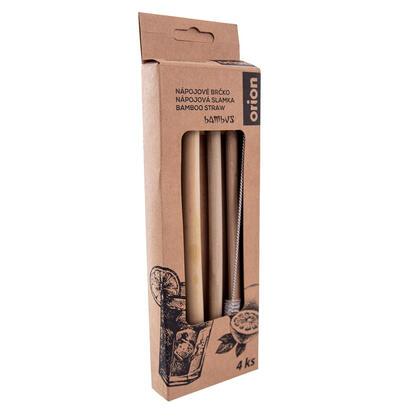 Nápojové bambusové brčko 4 ks s kartáčkem