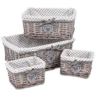 Sada 4 ks proutěných košíků s textilní vložkou, šedá
