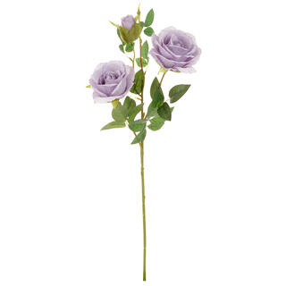 Umělá růže 2 květy s poupětem, lila