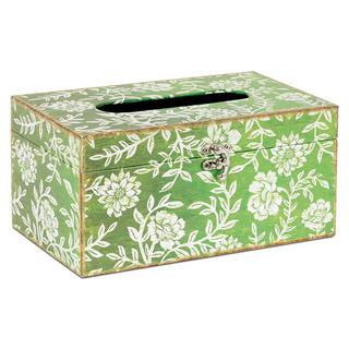Dekorativní box na papírové kapesníky, plátno s potiskem KVĚTINY
