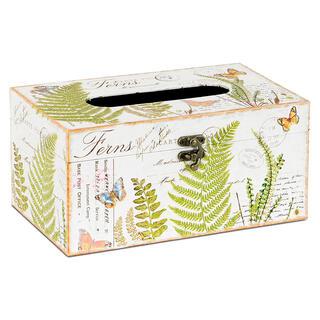 Dekorativní box na papírové kapesníky, plátno s potiskem KAPRADÍ