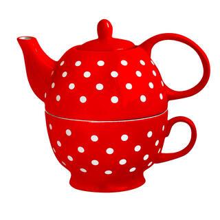 Konvička na čaj se šálkem červená