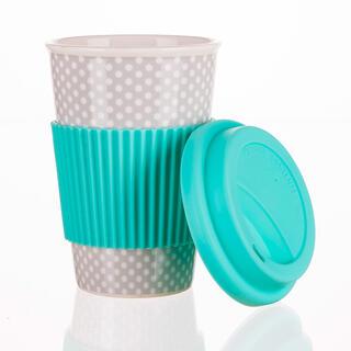 Hrnek keramický se silikonovým víčkem GO, 400 ml, tyrkysový