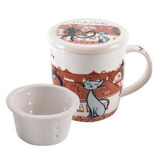Hrnek KOČKY VE MĚSTĚ 340 ml se sítkem na čaj