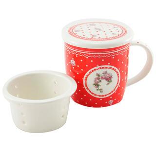 Hrnek ELEGANT červený se sítkem na čaj 400 ml