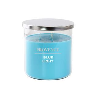Svíčka ve skle s víčkem BLUE LIGHT 1000 g, 3 knoty