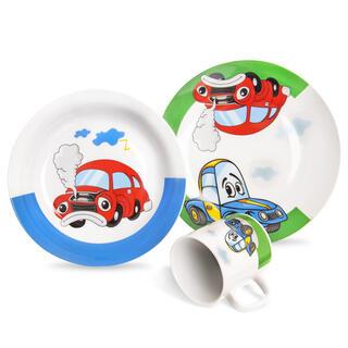 Dětská porcelánová jídelní sada AUTO 3 ks