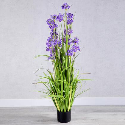 Dekorační umělá tráva fialové květy 120 cm