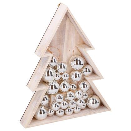 Dřevěná vánoční dekorace STROMEK, 15 LED