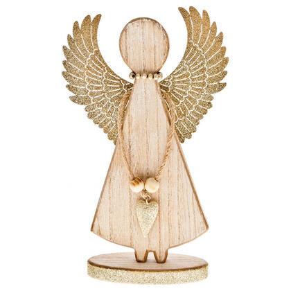 Dřevěný anděl s velkými křídly nahoru béžový