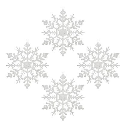 Ozdoba akryl VLOČKA bílá, sada 4 ks