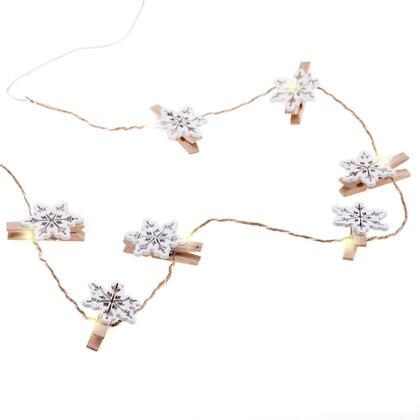 Světelný řetěz s kolíčky na fotografie VLOČKY dřevěné, 10 LED