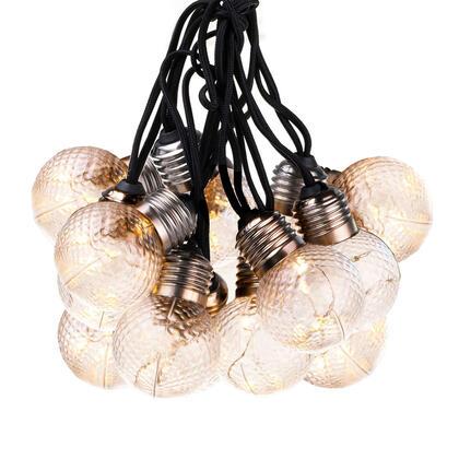Světelný řetěz s kulatými žárovkami s reliéfem, 10x5 LED