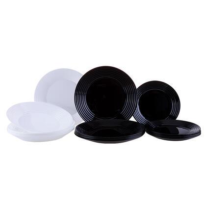Skleněná jídelní souprava HARENA černobílá 18 ks