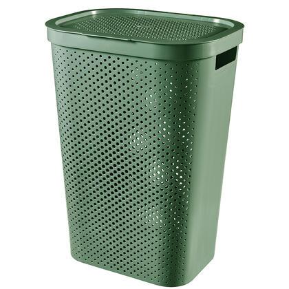 Koš na špinavé prádlo INFINITY recyklovaný plast zelený 60 l