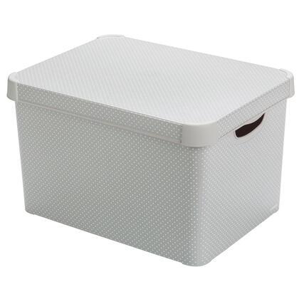 Úložný box s víkem šedý s tečkami