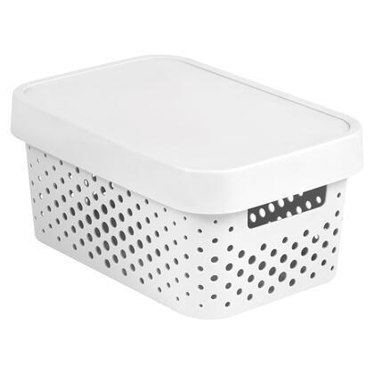 Úložný box INFINITY s víkem bílý děrovaný