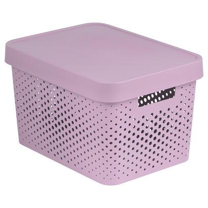 Úložný box INFINITY s víkem růžový děrovaný 17 l