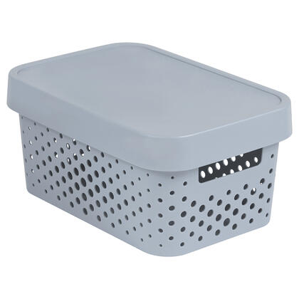 Úložný box INFINITY s víkem šedý děrovaný