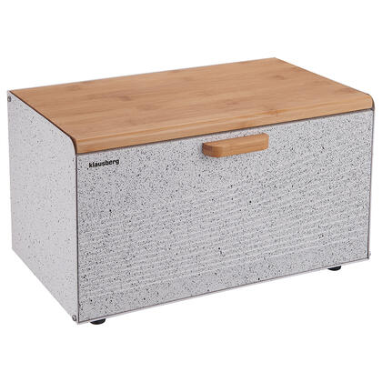 Chlebník hranatý s bambusovým víkem, bílý granit