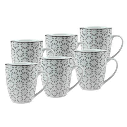 Sada porcelánových hrnků ORNATE 380 ml 6 ks
